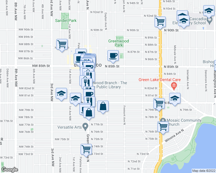 map of restaurants, bars, coffee shops, grocery stores, and more near 8202 Dayton Avenue North in Seattle