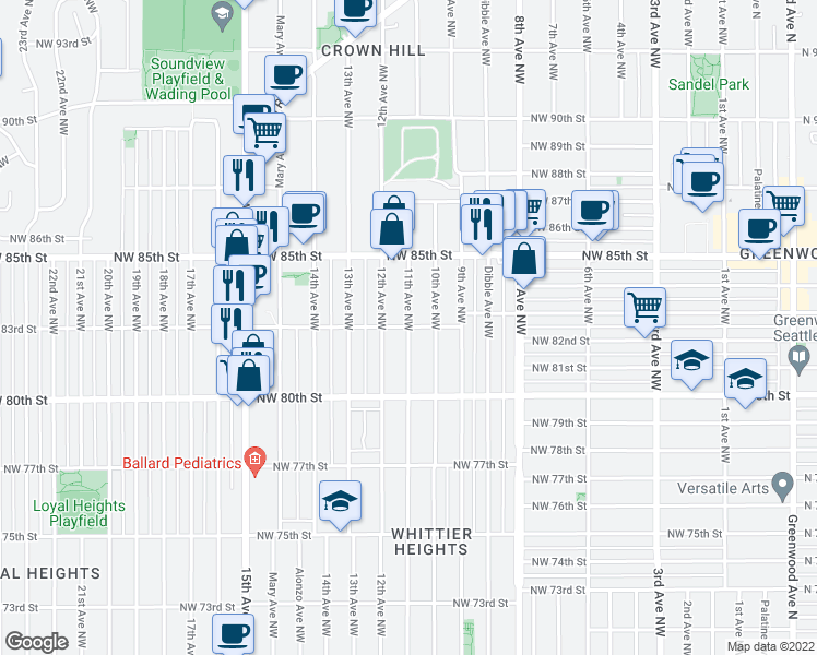 map of restaurants, bars, coffee shops, grocery stores, and more near 11th Avenue Northwest & Northwest 83rd Street in Seattle