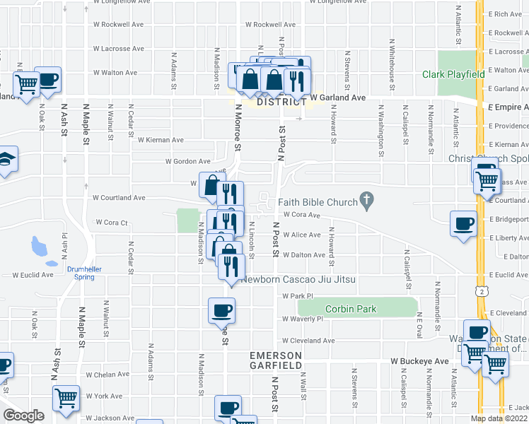 map of restaurants, bars, coffee shops, grocery stores, and more near 840 West Cora Avenue in Spokane