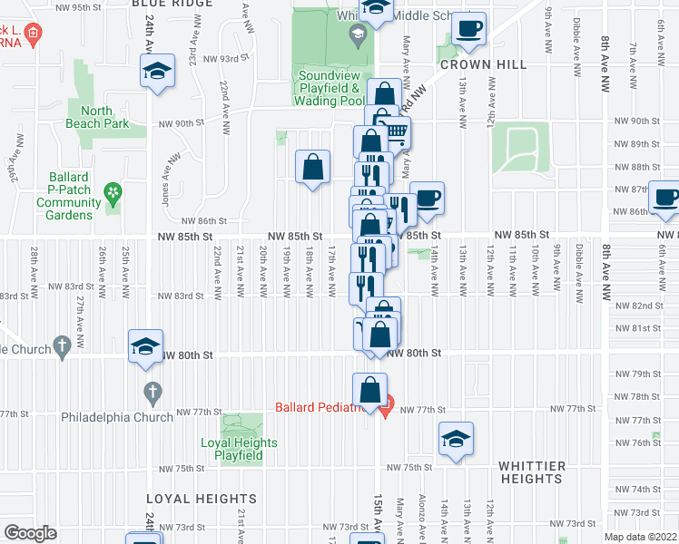 map of restaurants, bars, coffee shops, grocery stores, and more near 8322 17th Avenue Northwest in Seattle