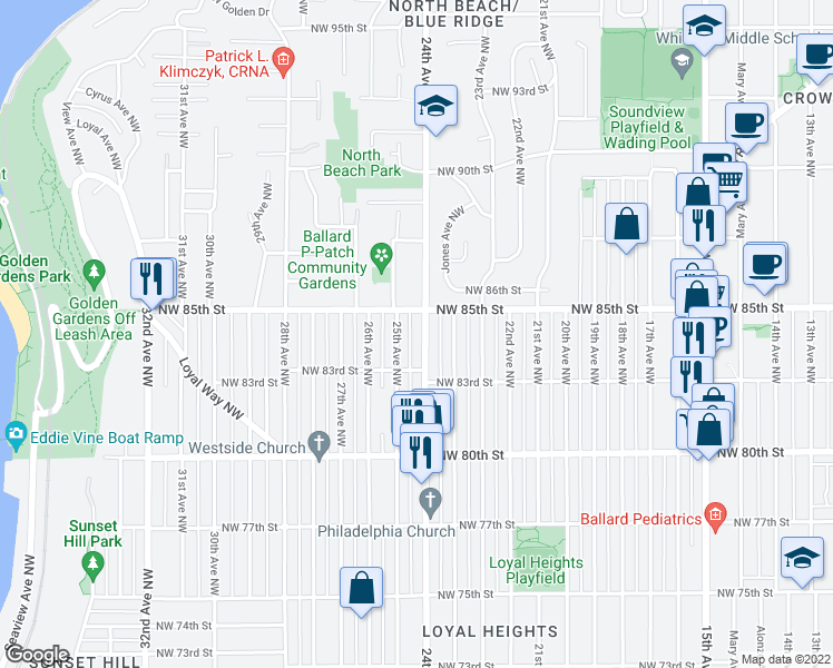 map of restaurants, bars, coffee shops, grocery stores, and more near 8331 24th Avenue Northwest in Seattle