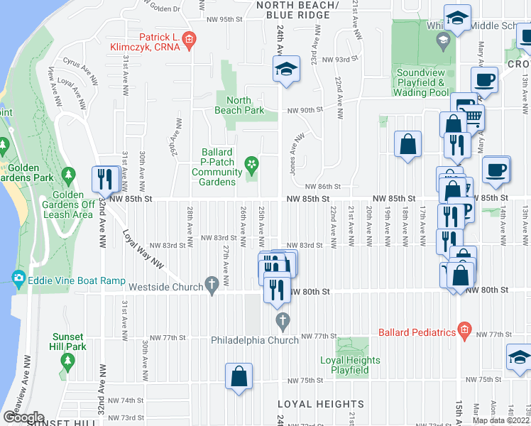 map of restaurants, bars, coffee shops, grocery stores, and more near 8334 25th Avenue Northwest in Seattle
