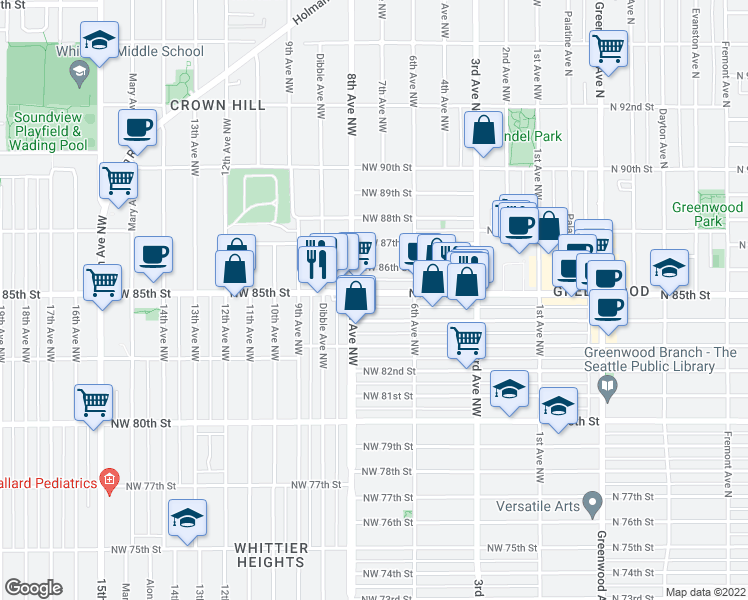 map of restaurants, bars, coffee shops, grocery stores, and more near 641 Northwest 85th Street in Seattle