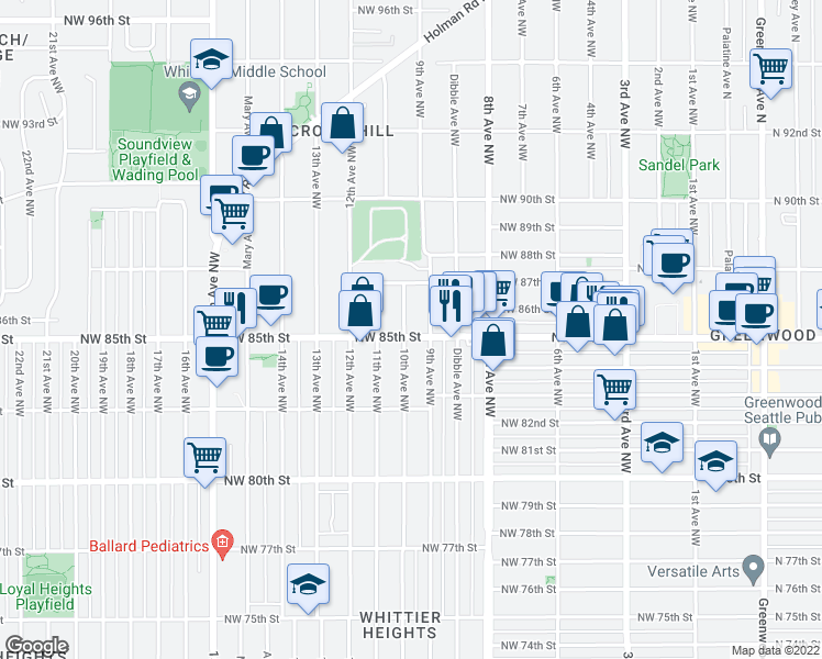 map of restaurants, bars, coffee shops, grocery stores, and more near 8502 10th Avenue Northwest in Seattle