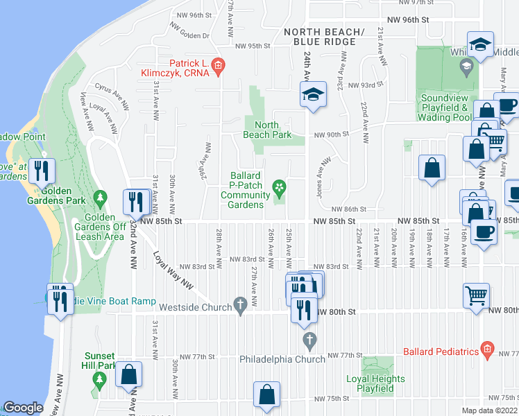 map of restaurants, bars, coffee shops, grocery stores, and more near 2601 Northwest 86th Street in Seattle