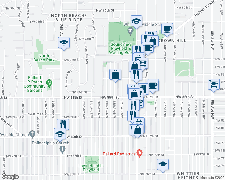 map of restaurants, bars, coffee shops, grocery stores, and more near 8519 18th Avenue Northwest in Seattle