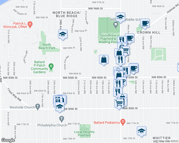 map of restaurants, bars, coffee shops, grocery stores, and more near in Seattle