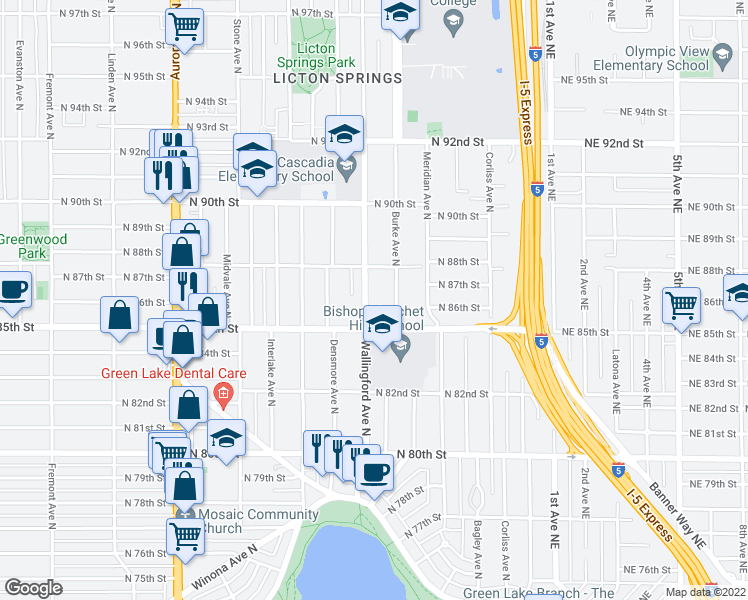 map of restaurants, bars, coffee shops, grocery stores, and more near 8530 Wallingford Avenue North in Seattle