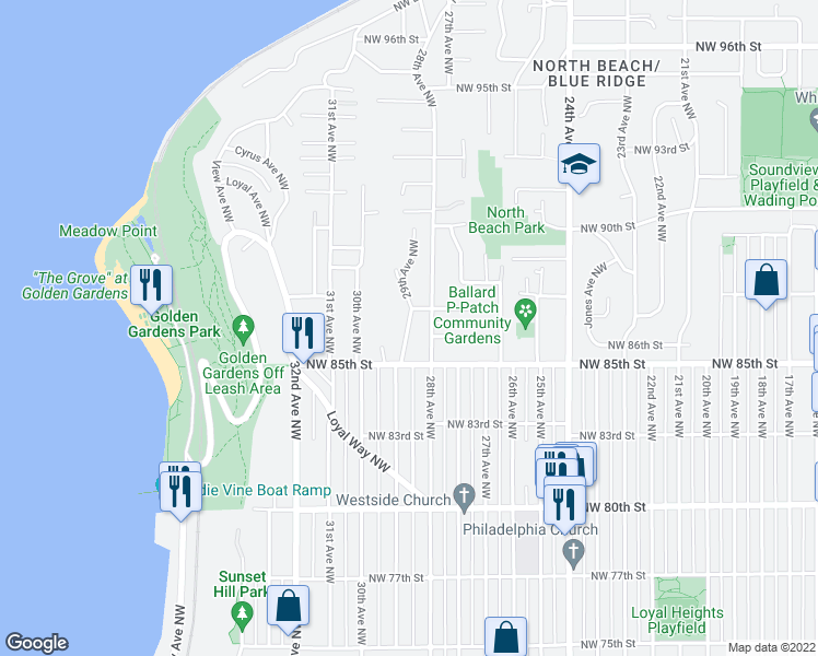 map of restaurants, bars, coffee shops, grocery stores, and more near 29th Avenue Northwest in Seattle