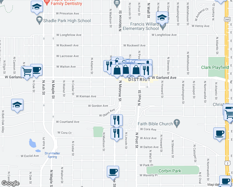 map of restaurants, bars, coffee shops, grocery stores, and more near 3745-3799 North Monroe Street in Spokane