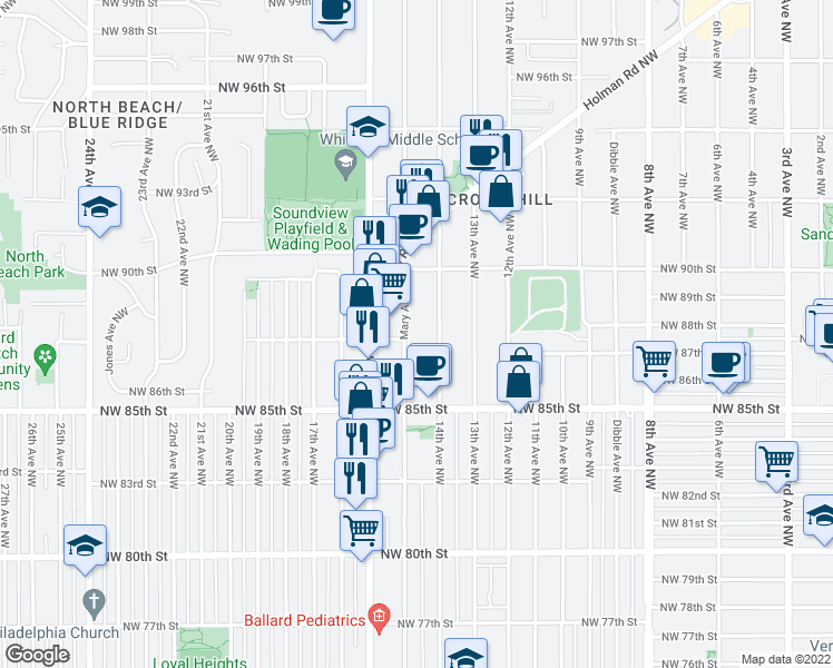 map of restaurants, bars, coffee shops, grocery stores, and more near 8700 Mary Avenue Northwest in Seattle