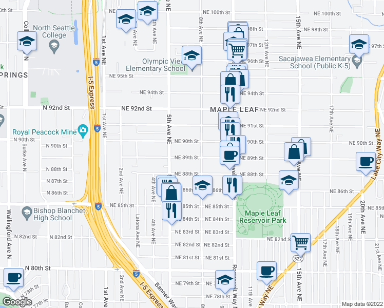 map of restaurants, bars, coffee shops, grocery stores, and more near 542 Northeast 89th Street in Seattle