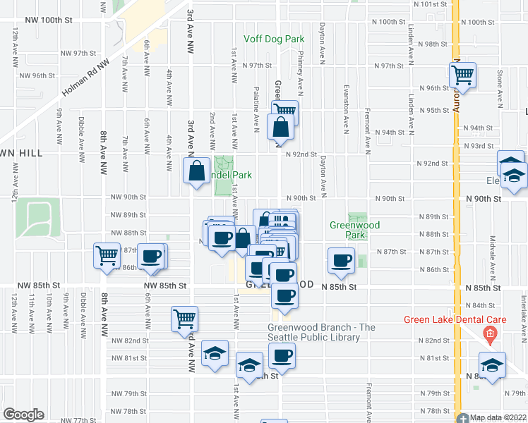 map of restaurants, bars, coffee shops, grocery stores, and more near 8742 Palatine Avenue North in Seattle