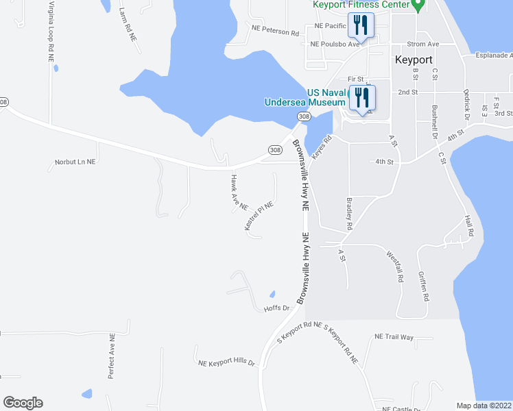 map of restaurants, bars, coffee shops, grocery stores, and more near 14523 Kestrel Place Northeast in Poulsbo