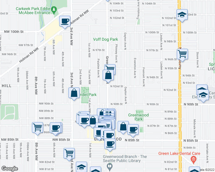 map of restaurants, bars, coffee shops, grocery stores, and more near Greenwood Ave N & N 92nd St in Seattle