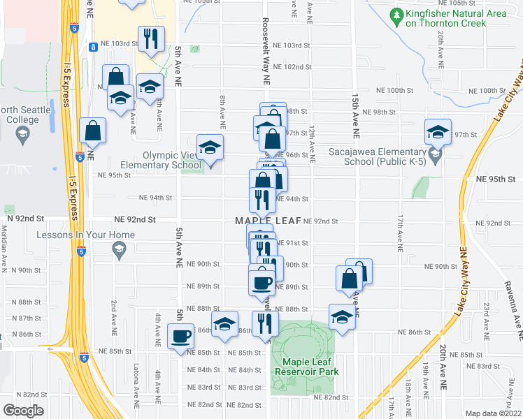 map of restaurants, bars, coffee shops, grocery stores, and more near 9215 Roosevelt Way Northeast in Seattle