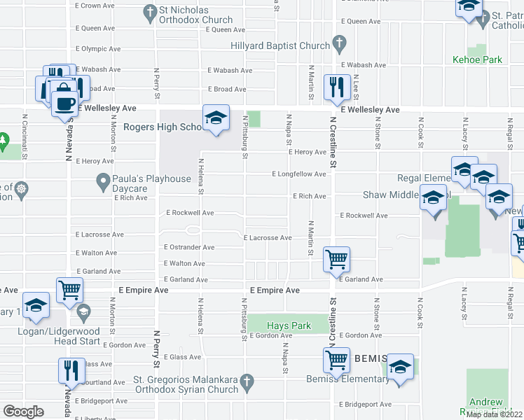 map of restaurants, bars, coffee shops, grocery stores, and more near 1707 East Rich Avenue in Spokane