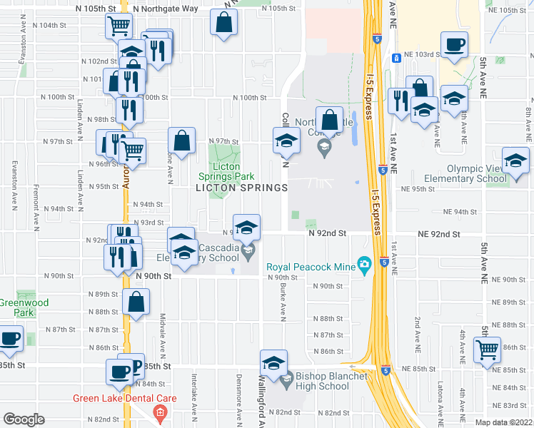map of restaurants, bars, coffee shops, grocery stores, and more near 9224 Wallingford Avenue North in Seattle