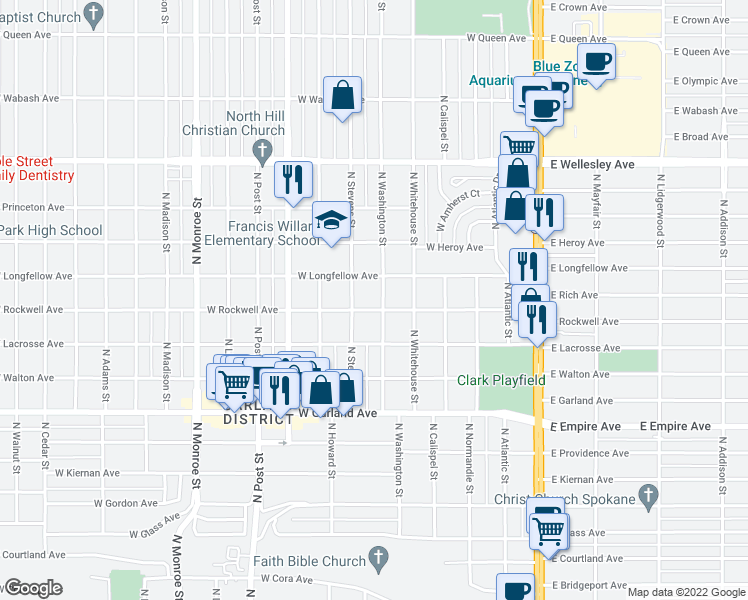 map of restaurants, bars, coffee shops, grocery stores, and more near 4217 North Washington Street in Spokane