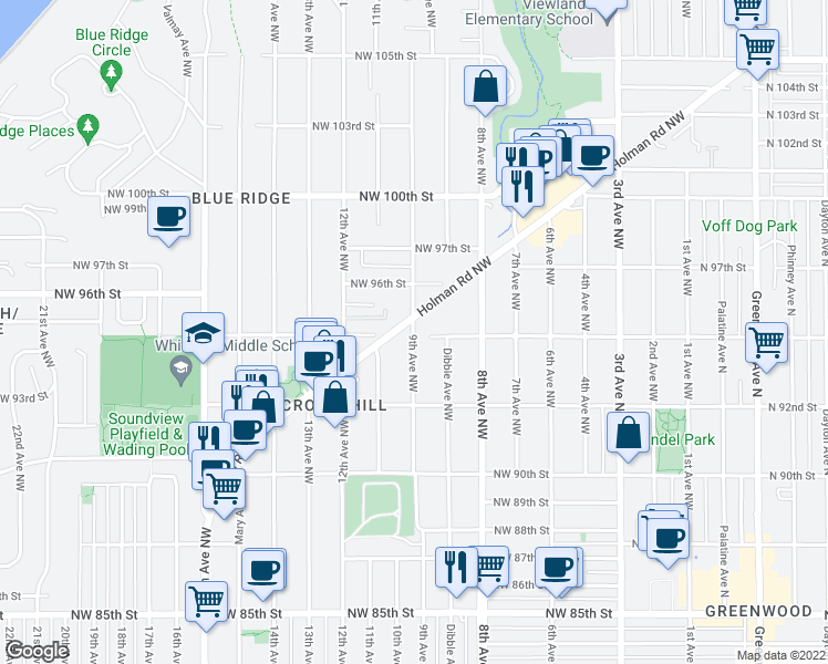 map of restaurants, bars, coffee shops, grocery stores, and more near 9504 9th Avenue Northwest in Seattle