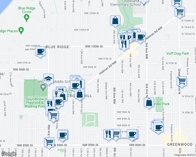 map of restaurants, bars, coffee shops, grocery stores, and more near 9502 9th Avenue Northwest in Seattle