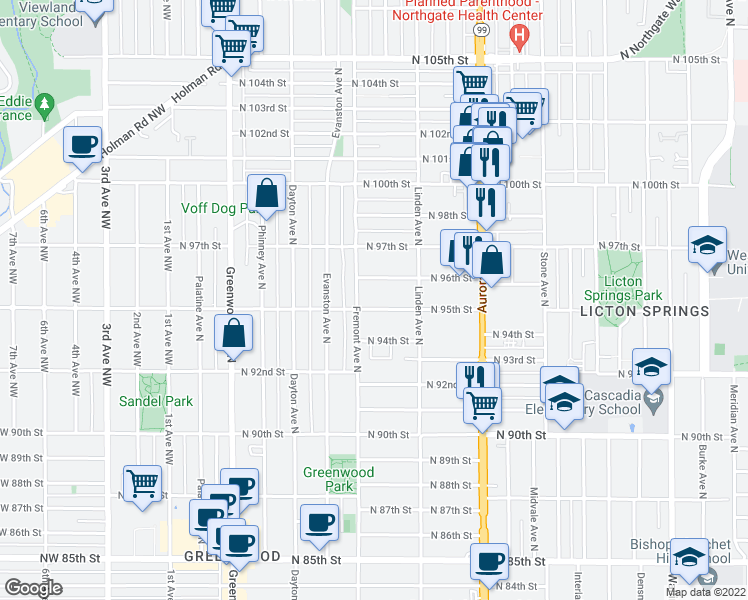 map of restaurants, bars, coffee shops, grocery stores, and more near 714 North 95th Street in Seattle