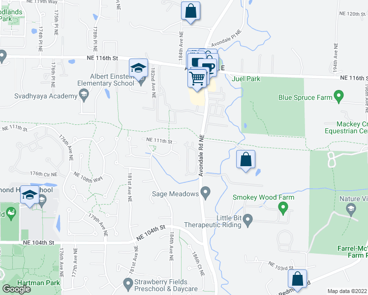 map of restaurants, bars, coffee shops, grocery stores, and more near 10909 Avondale Road Northeast in Redmond