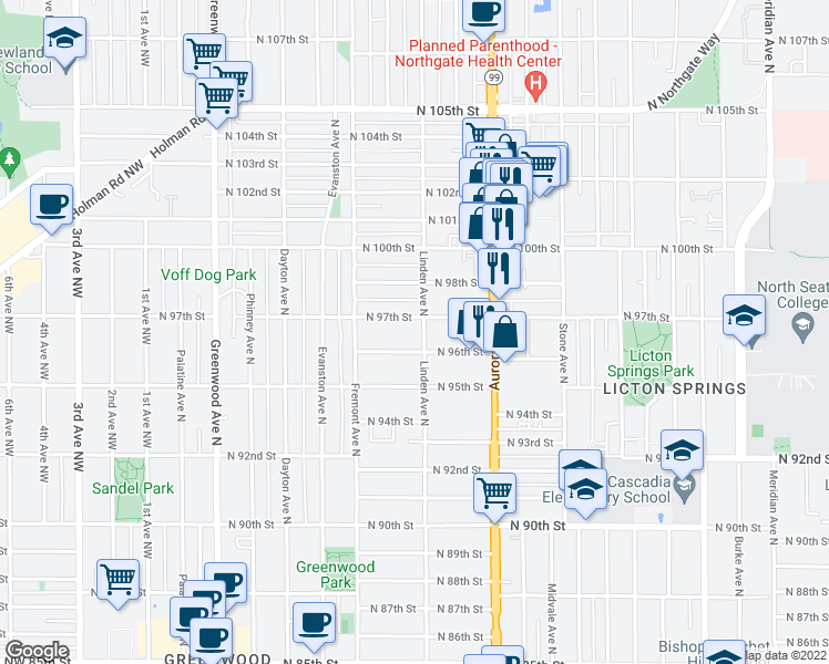 map of restaurants, bars, coffee shops, grocery stores, and more near 9615 Linden Avenue North in Seattle