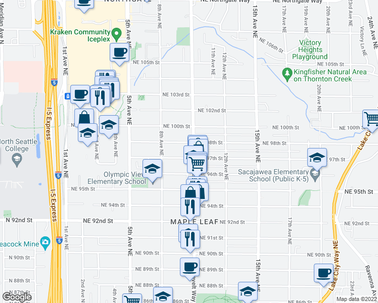 map of restaurants, bars, coffee shops, grocery stores, and more near 9709 Roosevelt Way Northeast in Seattle