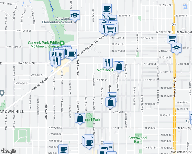 map of restaurants, bars, coffee shops, grocery stores, and more near 9708 1st Avenue Northwest in Seattle