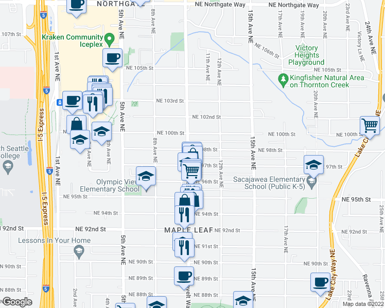 map of restaurants, bars, coffee shops, grocery stores, and more near 9720 Roosevelt Way Northeast in Seattle