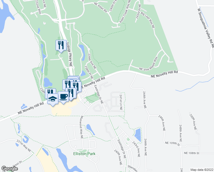 map of restaurants, bars, coffee shops, grocery stores, and more near 23948 Northeast 115th Lane in Redmond