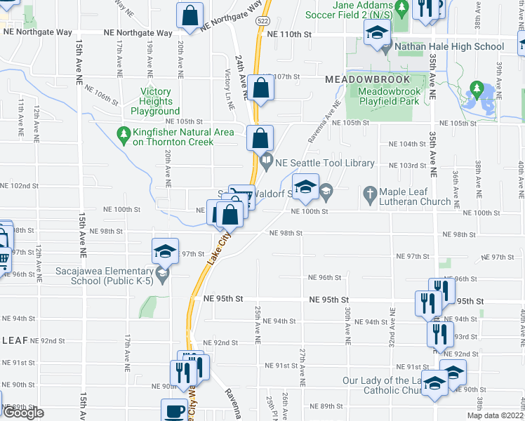 map of restaurants, bars, coffee shops, grocery stores, and more near 2400-2518 Northeast 100th Street in Seattle