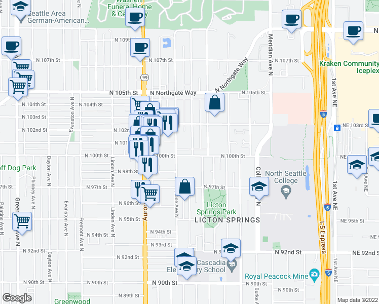 map of restaurants, bars, coffee shops, grocery stores, and more near 1324 North 100th Street in Seattle