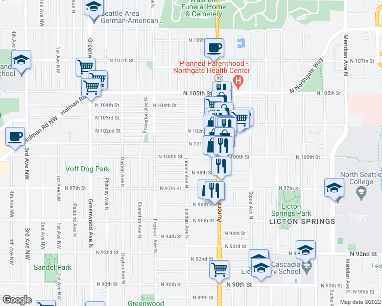 map of restaurants, bars, coffee shops, grocery stores, and more near 906 North 100th Street in Seattle