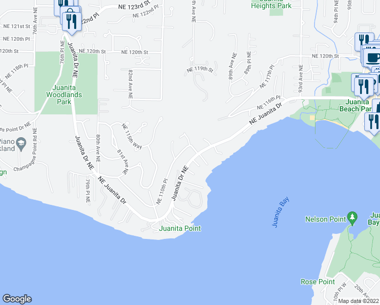 map of restaurants, bars, coffee shops, grocery stores, and more near 11033 86th Avenue Northeast in Kirkland