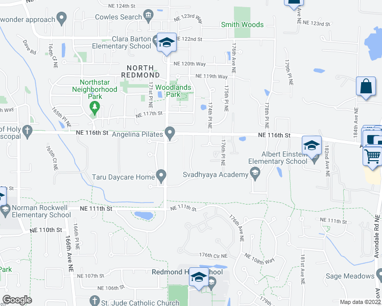 map of restaurants, bars, coffee shops, grocery stores, and more near 11520 174th Avenue Northeast in Redmond