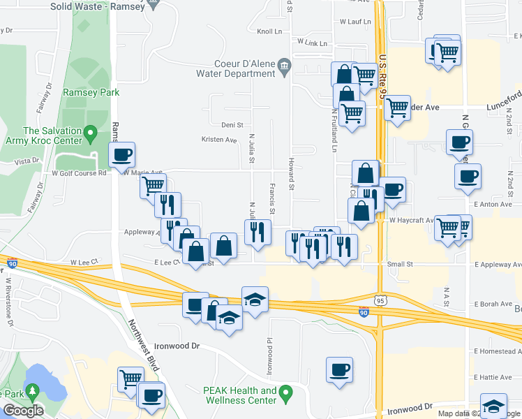 map of restaurants, bars, coffee shops, grocery stores, and more near 2812 North Julia Street in Coeur d'Alene