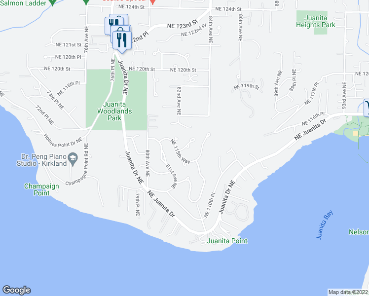 map of restaurants, bars, coffee shops, grocery stores, and more near 8208 Northeast 115th Way in Kirkland
