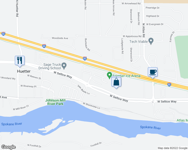 map of restaurants, bars, coffee shops, grocery stores, and more near 4034 West Idewild Loop in Coeur d'Alene