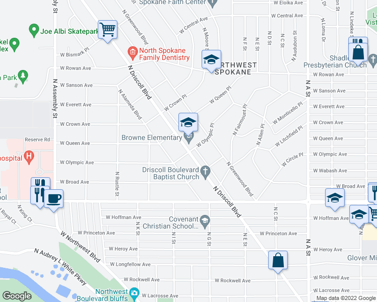 map of restaurants, bars, coffee shops, grocery stores, and more near 4917 North Driscoll Boulevard in Spokane