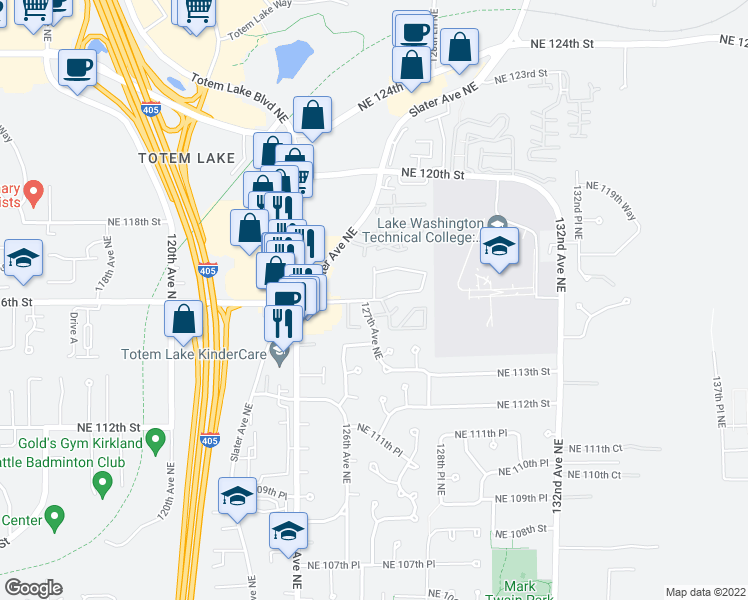 map of restaurants, bars, coffee shops, grocery stores, and more near Northeast 116th Street & 127th Lane Northeast in Kirkland