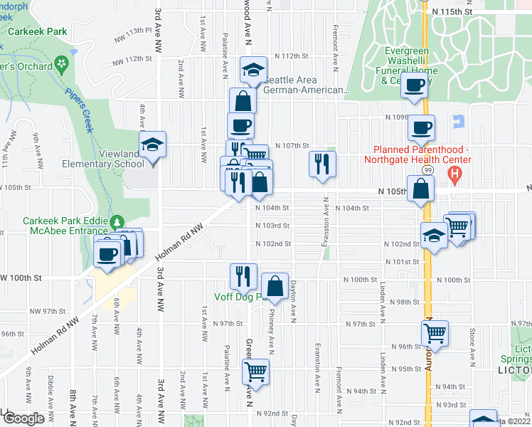 map of restaurants, bars, coffee shops, grocery stores, and more near 10406 Greenwood Avenue North in Seattle