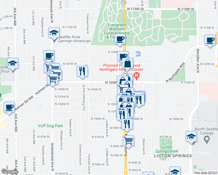 map of restaurants, bars, coffee shops, grocery stores, and more near 904 North 104th Street in Seattle