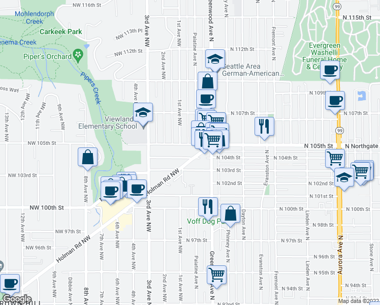 map of restaurants, bars, coffee shops, grocery stores, and more near 100 North 104th Street in Seattle