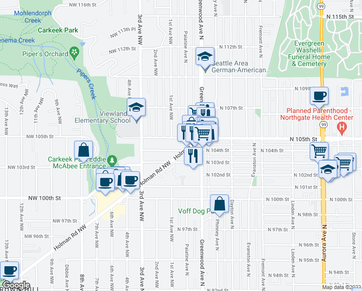 map of restaurants, bars, coffee shops, grocery stores, and more near 100 Northwest 104th Street in Seattle