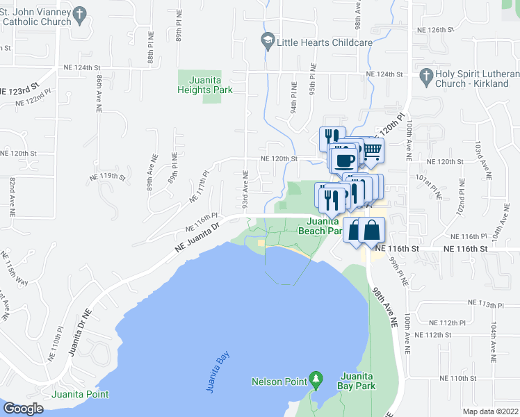 map of restaurants, bars, coffee shops, grocery stores, and more near 9320 Northeast Juanita Drive in Kirkland