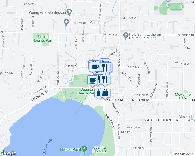 map of restaurants, bars, coffee shops, grocery stores, and more near 11718 97th Lane Northeast in Kirkland