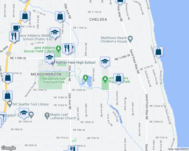 map of restaurants, bars, coffee shops, grocery stores, and more near 10556 39th Ave NE in Seattle