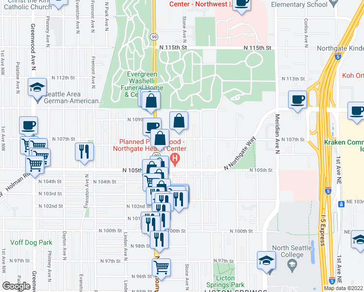 map of restaurants, bars, coffee shops, grocery stores, and more near 10549 Stone Avenue North in Seattle